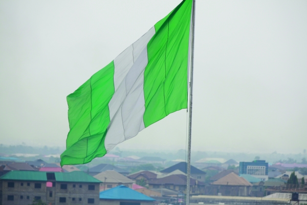 A giant Nigeria flag flies